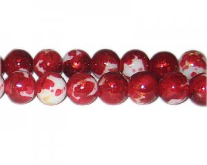 12mm Deep Red GoldLeaf-Style Glass Bead, approx. 17 beads