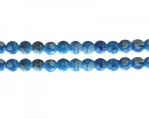 8mm Turquoise Swirl Marble-Style Glass Bead, approx. 35 beads