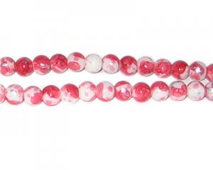 8mm Red SilverLeaf-Style Glass Bead, approx. 54 beads