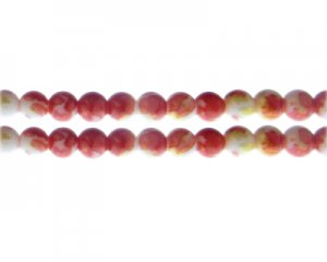 8mm Deep Orange GoldLeaf-Style Glass Bead, approx. 35 beads