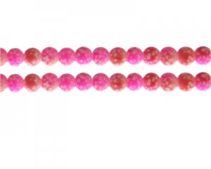 8mm Hot Pink/Red Spot Marble-Style Glass Bead, approx. 35 beads