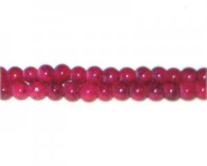 6mm Cherry Quartz-Style Glass Bead, approx. 72 beads