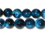 12mm Marble-Style Teal Glass Bead, approx. 18 beads