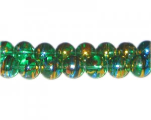 10mm Green Glow Abstract Glass Bead, approx. 22 beads