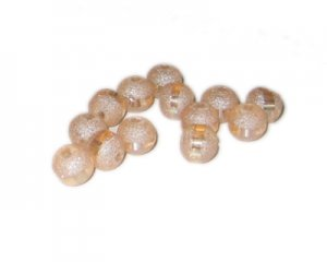 8mm Apricot Druzy-Style Electroplated w/line Bead, approx. 37 be