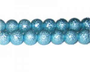 12mm Turquoise Rustic Glass Pearl Bead, approx. 17 beads