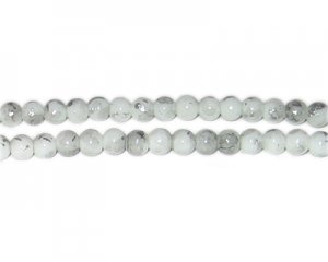 6mm Silver SilverLeaf-Style Glass Bead, approx. 72 beads