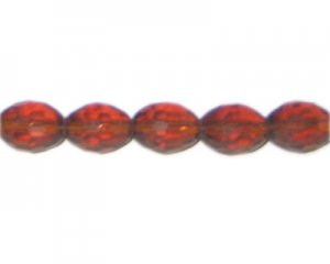 "12 x 10mm Golden Brown Faceted Oval Glass Bead, 12"" string"