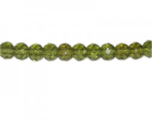 "10 x 8mm Olive Rondelle Glass Bead, 14"" string"