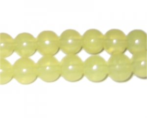 10mm Mellow Yellow Jade-Style Glass Bead, approx. 21 beads
