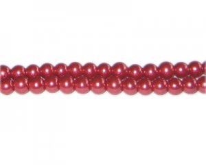 6mm Coral Glass Pearl Bead, approx. 78 beads