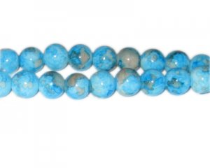 10mm Turq./Gray Marble-Style Glass Bead, approx. 22 beads