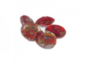 20mm Red Floral Lampwork Glass Bead, 5 beads