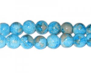 12mm Turq./Gray Marble-Style Glass Bead, approx. 18 beads