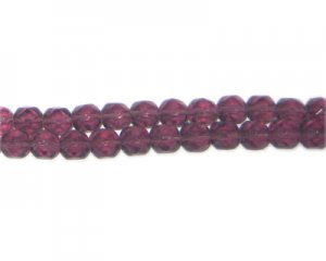 "6mm Deep Plum Faceted Glass Bead, 13"" string"