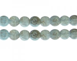 12mm Blue/Gray Duo-Style Glass Bead, approx. 14 beads