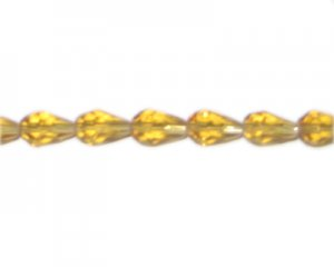 "10 x 6mm Gold Faceted Drop Glass Bead, 13"" string"