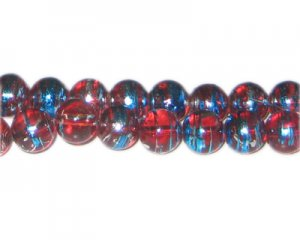 10mm Red USA Abstract Glass Bead, approx. 22 beads