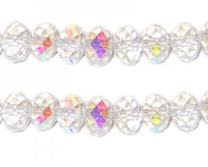 6 x 8mm Crystal AB Finish Rondelle Crystal Bead, 20 beads