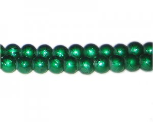 8mm Drizzled Dark Green Glass Bead, approx. 37 beads