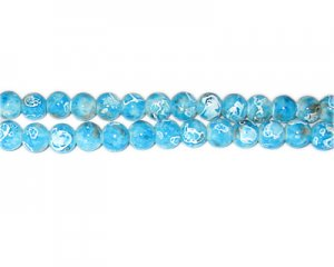 6mm Turquoise Swirl Marble-Style Glass Bead, approx. 73 beads