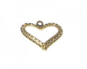 24mm Gold Metal Heart, fits 2mm rhinestone