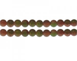 10mm Carnelian/Olive Duo-Style Glass Bead, approx. 16 beads