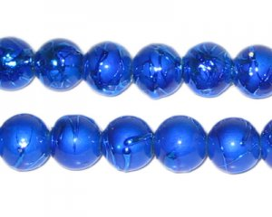 10mm Drizzled Blue Glass Bead, approx. 17 beads