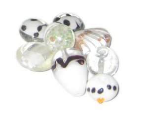 Approx. 1.5oz. White/Crystal Lampwork Glass Bead Mix3