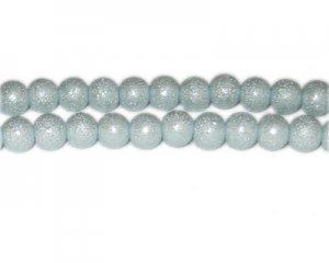 8mm Pale Blue Rustic Glass Pearl Bead, approx. 56 beads
