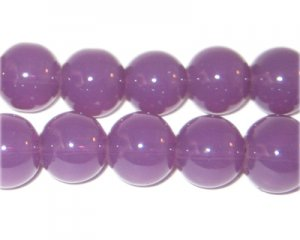 12mm Dark Violet Jade-Style Glass Bead, approx. 18 beads