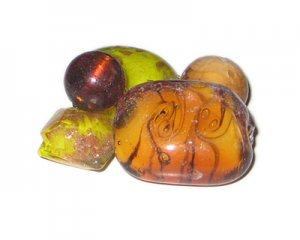 Approx. 1.5oz. Brown/Gold/Orange/Yellow Lampwork Mix5