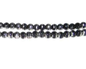 6mm Black Thunder Abstract Glass Bead, approx. 48 beads