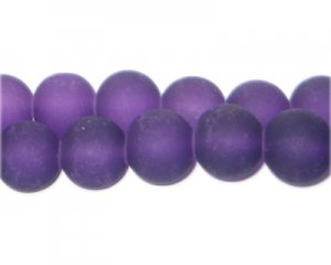 12mm Deep Purple Sea/Beach-Style Glass Bead, approx. 18 beads