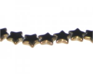12mm Black Vintage-Style Star Glass Bead, approx. 9 beads