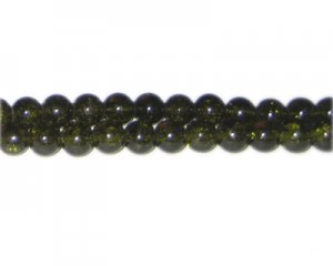 6mm Olive Green Crackle Glass Bead, approx. 74 beads