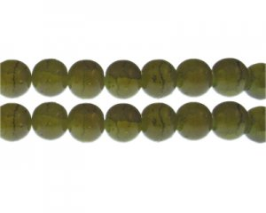 12mm Olivine Duo-Style Glass Bead, approx. 14 beads