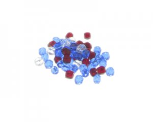 Approx. 1.5 - 2oz. x 3-4mm Red/White/Blue Faceted Glass Bead