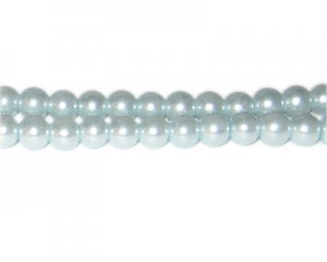 8mm Silver Blue Glass Pearl Bead, approx. 56 beads