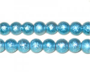 8mm Drizzled Dark Turquoise Glass Bead, approx. 52 beads
