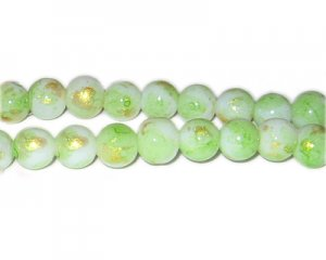 10mm Apple Green GoldLeaf-Style Glass Bead, approx. 21 beads