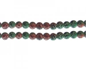 8mm Red/Green Spot Marble-Style Glass Bead, approx. 35 beads
