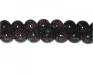 12mm Brown Spot Marble-Style Glass Bead, approx. 18 beads