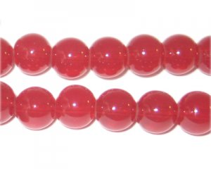 10mm Pomegranate Jade-Style Glass Beads, approx. 18 beads