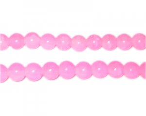 8mm Light Pink Jade-Style Glass Beads, approx. 53 beads