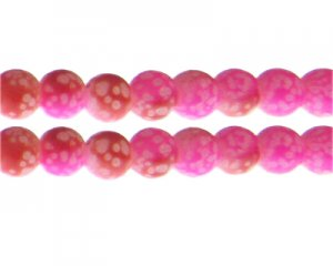 12mm Hot Pink/Red Spot Marble-Style Glass Bead, approx. 14 beads