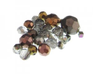 Approx. 1.5oz. Electroplated Faceted Glass Bead Mix