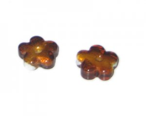 18mm Brown Foil Flower Lampwork Glass Bead, 6 beads