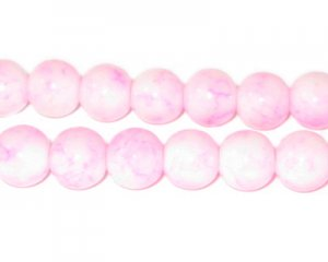 10mm Marble-Style Pink Glass Bead, approx. 22 beads