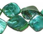 14 - 21mm Deep Aqua Green Irregular Diamond Shell Bead